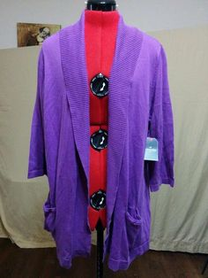 Always FREE SHIPPING! NEW Open Front Sweater w/ Pockets St. John's Bay Plus Size 2X Solid Purple  | eBay