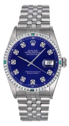 d28cbebbc7c Rolex Datejust Steel Watch With Blue Color Diamond Dial