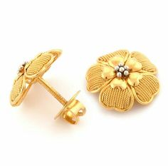 Latest Indian Jewellery designs and catalogues in gold diamond and precious stones Gold Ring Designs, Gold Earrings Designs, Earings Gold, Gold Studs, Necklace Designs, Gold Necklace, Fancy Jewellery, Gold Jewellery Design, Gold Jewelry