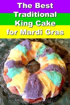 Welcome to my home-made Mardi Gras celebration! King Cake helps the good times roll in New Orleans and all the Mardi Gras-celebrating regions. My King Cake recipe shows you bake up those good times and bring that colorful sweetness into your home kitchen! Haitian Food Recipes, Cuban Recipes, Donut Recipes, Apple Recipes, Cake Recipes, Bread Recipes, Dessert Recipes, Desserts, Dinner Recipes