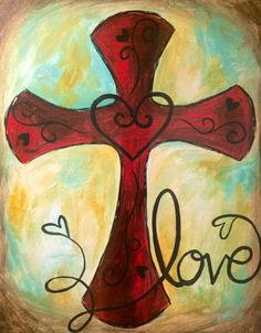 """The perfect Mimosa Sunday painting """"Unconditional Love"""" have fun with this beautiful cross painting idea!"""
