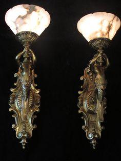 Rare 1940 gilt bronze mermaid figural wall scones handmade Natural Alabaster