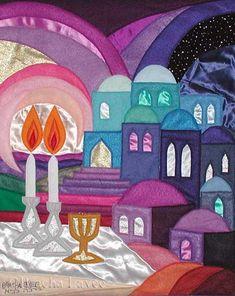 """ Shabbat candles"" Original Felt Tapestry by Bracha Lavee Jewish Crafts, Jewish Art, Shabbat Shalom Images, Good Shabbos, Arte Judaica, Shabbat Candles, Thinking Day, Happy Sabbath, Bible Art"