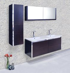 The Potenza is a modern bathroom vanity set that embraces the latest trend in luxury modern bathroom design. Bathroom Vanity Cabinets, Wood Vanity, Vanity Set, Bathroom Vanities, Double Sink Bathroom, Double Sink Vanity, Gel Stain Furniture, Mirror Door, Modern Bathroom Design