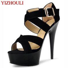 d8e5c0cf98a10 New Summer Women Sexy Roman 15 cm High Heels Platform Ankle Strap Sandals  Women Fashion Black