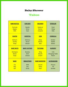 Baby shower taboo game, great way to break the ice and warm up a large crowd of party guests. Baby Shower Games For Large Groups, Fun Baby Shower Games, Baby Games, Shower Party, Baby Shower Parties, Baby Boy Shower, Baby Shower Gifts, Taboo Game, Ice Breaker Games