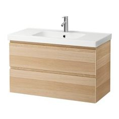 """GODMORGON / ODENSVIK Sink cabinet with 2 drawers, white stained oak effect - 39 3/8x19 1/4x25 1/4 """" - IKEA"""