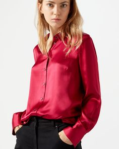 Made in silk satin this season, this piece is styled with a classic collar and silk satin trim detailing at either side. A neat fit, we recommend pairing with jeans and pointed flats to transition between casual and workwear. Satin Blouses, Red Blouses, Blouse Dress, Dress Skirt, Sexy Blouse, Red Satin, Silk Satin, Satin Shirt, Fashion Group