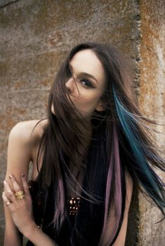 Blue and pink streaked hair