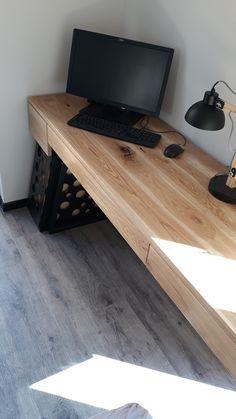 #moderndesk #minimaldesk #naturalwooddesk #industrial #loftstyle #design #minimalism Corner Desk, Furniture, Home Decor, Minimalism, Corner Table, Decoration Home, Room Decor, Home Furnishings, Home Interior Design
