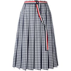 Thom Browne pleated gingham skirt (4,635 ILS) ❤ liked on Polyvore featuring skirts, bottoms, gingham, black, gingham skirt, knee length pleated skirt, pleated skirt and thom browne