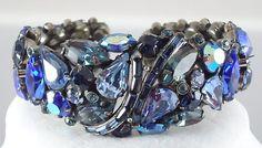 Weiss Vintage Signed Hindged Clamper Blue Rhinestone Bracelet