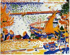 Port Of Collioure, The White Horse Artwork By Andre Derain Oil Painting & Art Prints On Canvas For Sale Andre Derain, Henri Matisse, Art Fauvisme, Art Français, Horse Artwork, Georges Braque, National Gallery Of Art, White Horses, Art Moderne