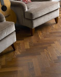 Yes we mainly do #oakflooring, but there are some interesting other timbers in our collection which should be overlooked such as Sucupira. Seen here in a herringbone pattern, this makes a hard-wearing floor with warm chocolate tones and a vivid grain. #sucupira