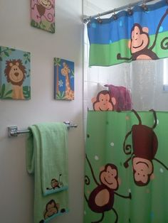 Decorating: Best Kids Bathroom Wall Art With Monkey Design Why