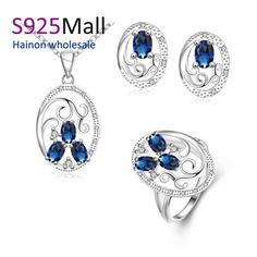 flower jewellery sets necklace ring stud earring factory Fashion charm wedding Silver Plated jewelry sets paved royal blue