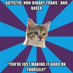 "Because You Aren't Autistic: A blog about allistic and neurotypical privilege.    [Image shows Autistic Kitten on a purple and blue background. First line of text: Autistic, non-binary trans*, and queer. Second line of text: ""You're just making it hard on yourself!""]"