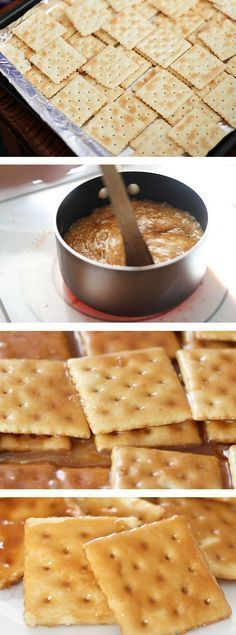 Saltine cracker toffee. Only takes 15 minutes to make! Super easy to make and seriously addicting! Would be yummy with melted chocolate chips on top too!
