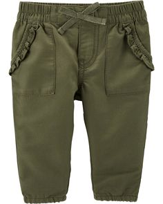 Baby Girl Pull-On Twill Pants | OshKosh.com