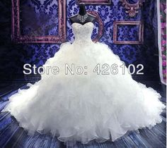 Real Sample Sweetheart Luxury Royal Puffy Pearl Beading Catherdarl Train Ball Gown Wedding Dresses 2014 Bridal dress Organza US $178.00