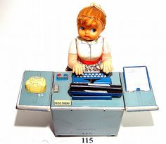 "T-N Co., ""Miss Friday the Typist"" 6 working actions, litho tin, battery-op - EXC"