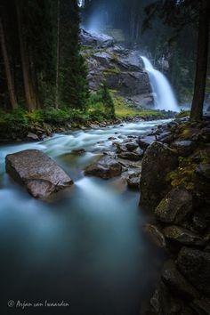 Krimmler Waterfall in Austrian Alps.