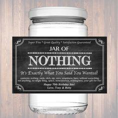 Editable Jar Of Nothing Label, Chalkboard Label Personalized Gag Gift Holiday Gift, Christmas Gift, Birthday Gift, Retirement Gift Printable