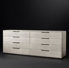 RH Modern's Smythson Shagreen 9-Drawer Low Extra-Wide:A 1970s interpretation of French Art Deco design, our bedroom collection from the Van Thiels celebrates the marriage of two eras. With elegant materials and a refined form, it's clad in rich faux shagreen and accented with metal trim detail.