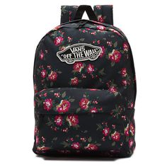 Realm Backpack (125 BRL) ❤ liked on Polyvore featuring bags, backpacks, floral black black, backpacks bags, vans bag, floral rucksack, flower print backpack and floral bag