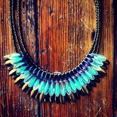 Purple, light green, and brass fringe glass dagger bead #necklace #duodc #obsessed  (at Duo)