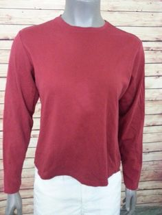 L.L. Bean knit top crew neck cotton women's size M long sleeve casual work #LLBean #KnitTop #Casual