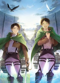 Levi And Eren... Oh my gawd.... The two birds in the background.... IT'S THE WINGS OF FREEDOM!