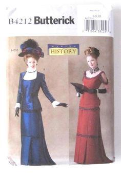 Victorian Costume Butterick B4212 Sz 6-10 Pattern Dress Jacket Titanic UNCUT #ButterickSewingPatternUNCUT #ForPeriodCostumes
