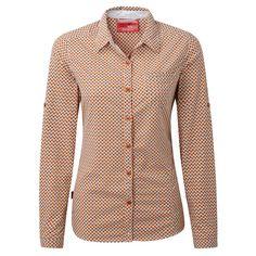 Craghoppers Women's Nosilife Olivie Long Sleeve Shirt, Dst Orge Comb, US 12/UK 16