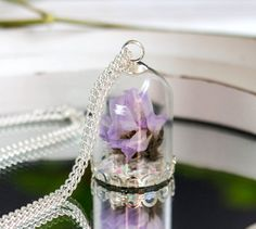 Necklace Real Flower  Blown glass ball with dried lilac