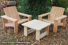 salon de jardin - fauteuil et banc wood structure