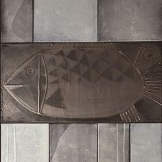 Roger Capron - Coffee table decorated with a silver fish. Vallauris, circa 1960 Glazed ceramic tiles.  http://www.galerieriviera.com