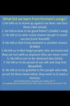 Eminem's music has taught me <3