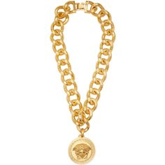Versace Gold Medusa Medallion Necklace ($955) ❤ liked on Polyvore featuring jewelry, necklaces, jewels, versace, gold, gold necklace, gold pendant necklace, yellow gold pendant necklace, chain necklaces and yellow gold necklace
