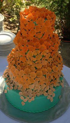 Cascading Flowers Ombre Wedding Cake