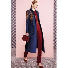 Высокое качество 2015 осень новый взлетно-посадочной полосы траншеи женщин однобортный вышивка синий длинное пальто D0906