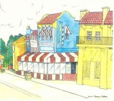Tom's rendition of what Overton Square used to look like. It's part of his 'Vanishing Memphis' collection.
