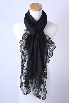 a56268e7a8521 corciova Women's Long Lace Imitated Silk Scarf Black at Amazon Women's  Clothing store: Fashion Scarves
