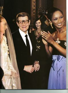 .YSL with models - Chrystele St Louis & Katoucha at the end of Fall 1997 Couture show