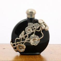 Vintage Art Nouveau Style Perfume Bottle Black Glass by mybooms, $24.00