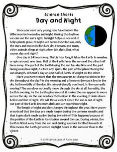 This easy to read, one page passage all about night and day is perfect for grade science. It includes 10 multiple choice reading comprehension questions and an answer key. Fourth Grade Science, Kindergarten Science, Teaching Science, Science Education, Life Science, Social Studies Worksheets, Reading Worksheets, Printable Worksheets, Reading Comprehension Passages