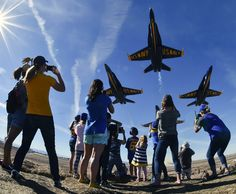 NAF EL CENTRO, Calif. (March 9, 2017) The U.S. Navy Flight Demonstration Squadron, the Blue Angels, takes off in diamond formation over onlookers at Naval Air Facility El Centro, California. The Blue Angels are scheduled to perform more than 60 demonstrations across the U.S. in 2017. (U.S. Navy photo by Mass Communication Specialist  2nd Class Ian Cotter/Released)