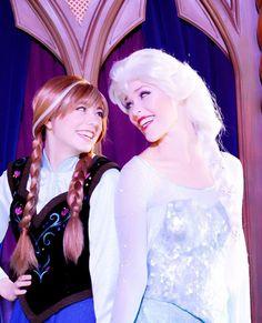 @maddiesdisney Anna and Elsa in Disneyland  Aka classic Merida and Ariel