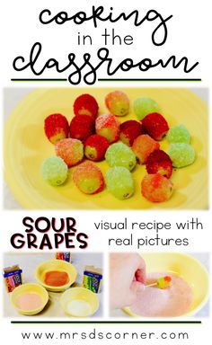 Simple sour grapes recipe for kids - visual recipes for cooking in the classroom, using real pictures. Sour grapes visual recipes for students with special needs. Healthy snack recipe for adults and for kids.
