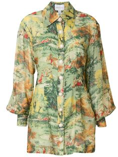 Green cotton Strange Dreams shirt dress from alice McCALL featuring a pointed collar, a front button fastening, billowing sleeves, a fitted waist and a short length. Alice Mccall, Weird Dreams, Green Shirt, Green Cotton, Her Style, Green Dress, World Of Fashion, Women Wear, Men Casual